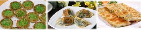 早餐菜品:绿豆糕、煎饺、葱油饼